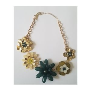 NY&Company Green/Gold Statement Necklace